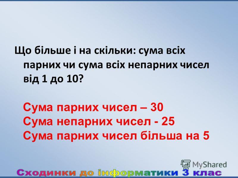 Що більше і на скільки: сума всіх парних чи сума всіх непарних чисел від 1 до 10? Сума парних чисел – 30 Сума непарних чисел - 25 Сума парних чисел більша на 5