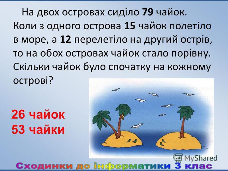 На двох островах сиділо 79 чайок. Коли з одного острова 15 чайок полетіло в море, а 12 перелетіло на другий острів, то на обох островах чайок стало порівну. Скільки чайок було спочатку на кожному острові? 26 чайок 53 чайки