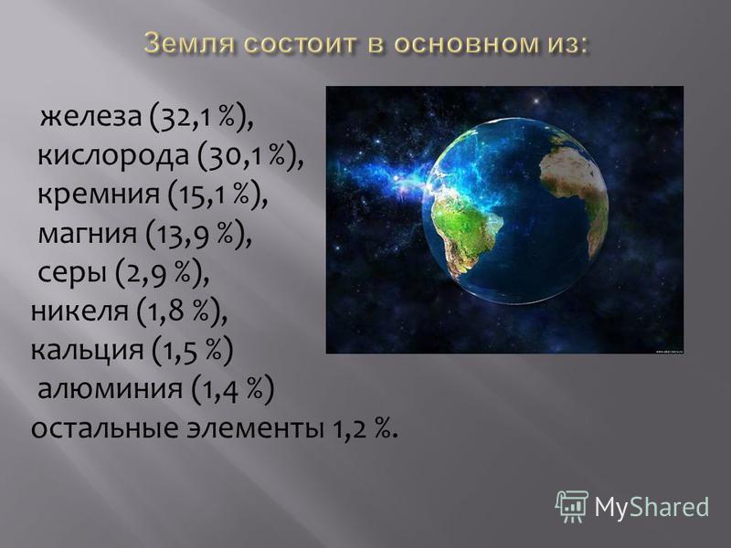 железа (32,1 %), кислорода (30,1 %), кремния (15,1 %), магния (13,9 %), серы (2,9 %), никеля (1,8 %), кальция (1,5 %) алюминия (1,4 %) остальные элементы 1,2 %.