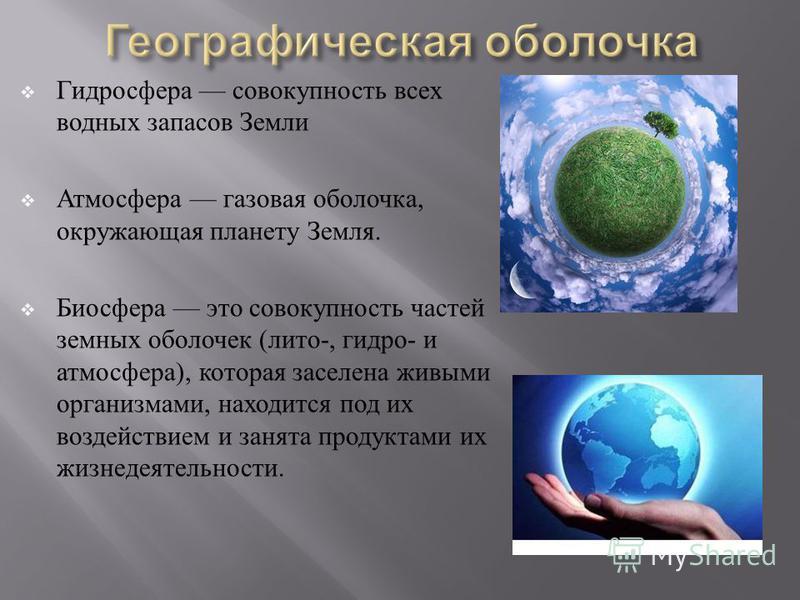 Гидросфера совокупность всех водных запасов Земли Атмосфера газовая оболочка, окружающая планету Земля. Биосфера это совокупность частей земных оболочек ( лито -, гидро - и атмосфера ), которая заселена живыми организмами, находится под их воздействи
