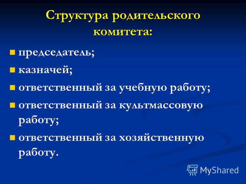 Структура родительского комитета: председатель; казначей; ответственный за учебную работу; ответственный за культмассовую работу; ответственный за хозяйственную работу.