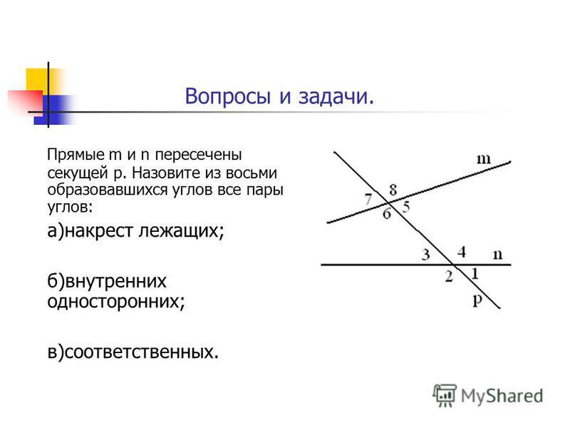 Прямые m и n пересечены секущей р. Назовите из восьми образовавшихся углов все пары углов: а)накрест лежащих; б)внутренних односторонних; в)соответственных. Вопросы и задачи.