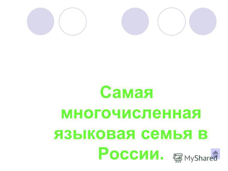 Самая многочисленная языковая семья в России.