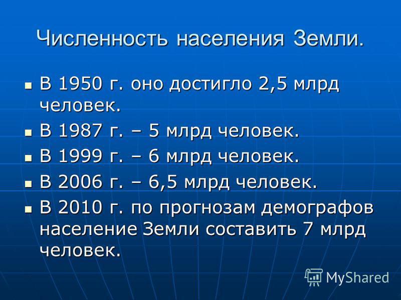 Численность населения Земли. В 1950 г. оно достигло 2,5 млрд человек. В 1950 г. оно достигло 2,5 млрд человек. В 1987 г. – 5 млрд человек. В 1987 г. – 5 млрд человек. В 1999 г. – 6 млрд человек. В 1999 г. – 6 млрд человек. В 2006 г. – 6,5 млрд челове