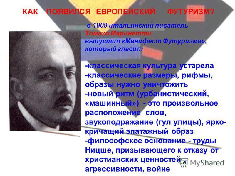 История кубофутуризма Фон с картины К.Малевича «Супрематизм»1915