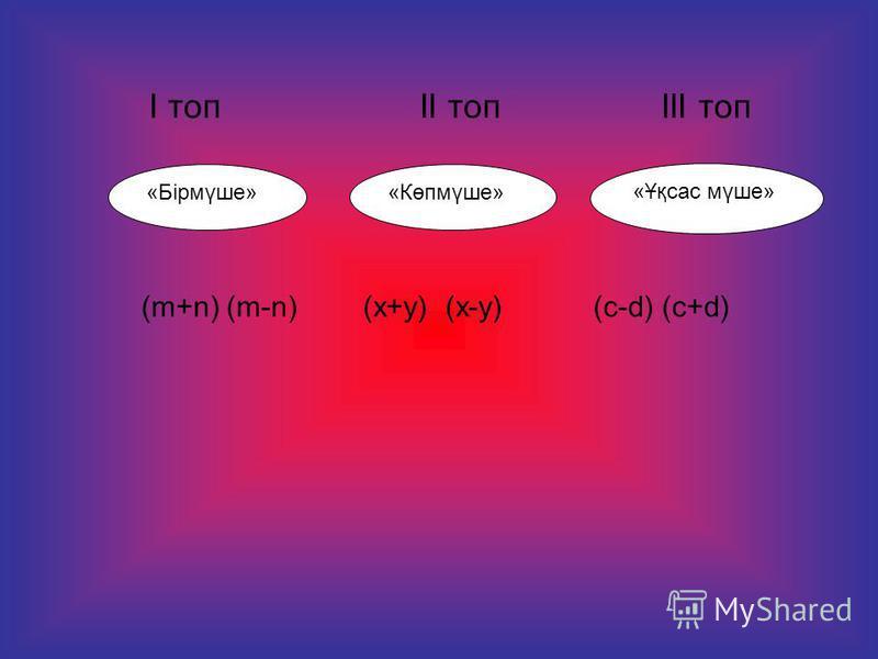 І топ ІІ топ ІІІ топ «Ұқсас мүше» «Көпмүше»«Бірмүше» (m+n) (m-n) (х+y) (х-y)(c-d) (c+d)
