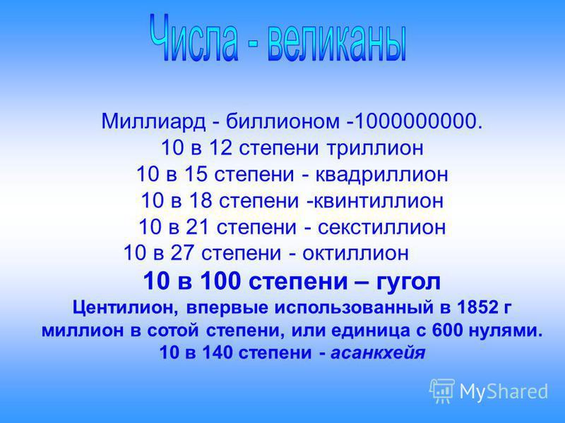 Миллиард - биллионом -1000000000. 10 в 12 степени триллион 10 в 15 степени - квадриллион 10 в 18 степени -квинтиллион 10 в 21 степени - секстиллион 10 в 27 степени - октиллион 10 в 100 степени – гугол Центилион, впервые использованный в 1852 г миллио