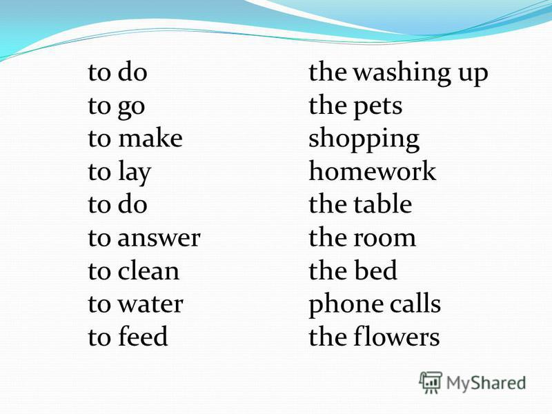 to dothe washing up to gothe pets to makeshopping to layhomework to do the table to answerthe room to cleanthe bed to waterphone calls to feedthe flowers