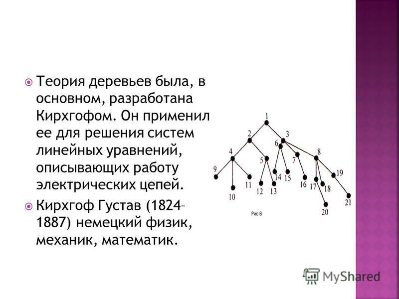 Это конечный, связный, не ориентированный граф, не имеющий циклов. Характеристическое свойство деревьев состоит в том, что любые две вершины дерева соединены единственной цепью.