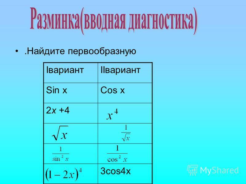 .Найдите первообразную IвариантIIвариант Sin xCos x 2x +4 3cos4x