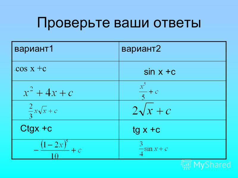 Проверьте ваши ответы вариант 1 вариант 2 - cos x +c Ctgx +c tg x +c sin x +c