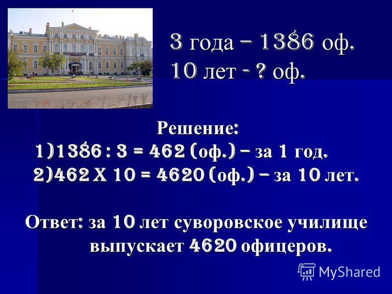 3 года – 1386 рф. 10 лет - ? рф. Решение: 1)1386 : 3 = 462 (рф.) – за 1 год. 2)462 x 10 = 4620 (рф.) – за 10 лет. Ответ: за 10 лет суворовское училище выпускает 4620 рфицеров.