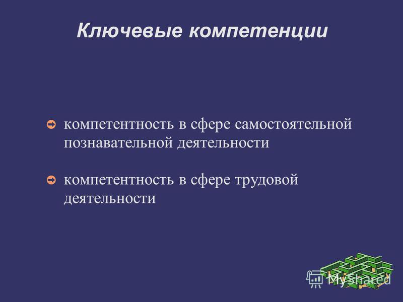Ключевые компетенции компетентность в сфере самостоятельной познавательной деятельности компетентность в сфере трудовой деятельности