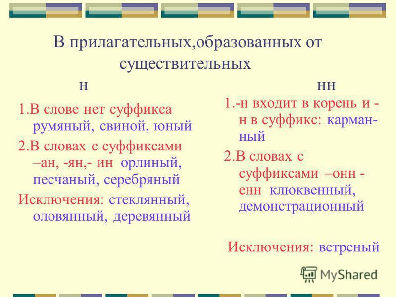 В прилагательных,образованых от существительных н н 1. В слове нет суффикса румяный, свиной, юный 2. В словах с суффиксами –ан, -ян,- ин орлиный, песчаный, серебряный Исключения: стекляный, оловяный, деревяный 1.-н входит в корень и - н в суффикс: ка