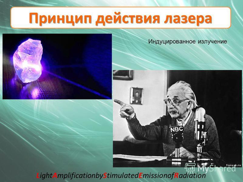 Принцип действия лазера Индуцированное излучение LightAmplificationbyStimulatedEmissionofRadiation