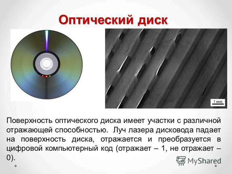 Оптический диск Поверхность оптического диска имеет участки с различной отражающей способностью. Луч лазера дисковода падает на поверхность диска, отражается и преобразуется в цифровой компьютерный код (отражает – 1, не отражает – 0).