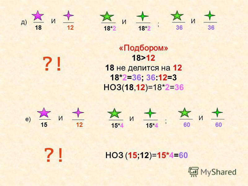 в) 12 И 36 И ?! 36:12=3, 36>12 НОЗ (36;12)=36 г) 15 И 3 И