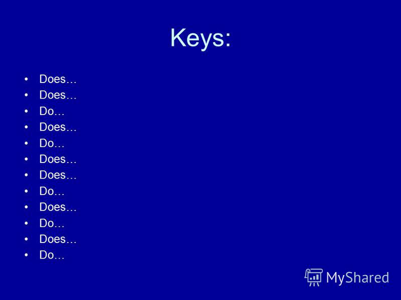 Keys: Does… Do… Does… Do… Does… Do… Does… Do… Does… Do…
