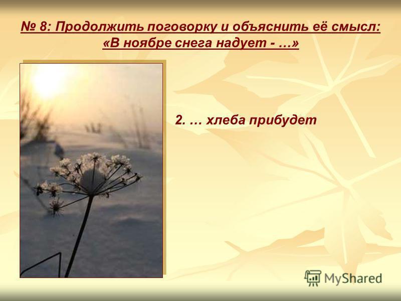 8: Продолжить поговорку и объяснить её смысл: «В ноябре снега надует - …» 2. … хлеба прибудет