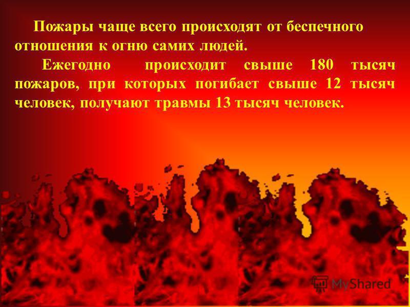 Пожары чаще всего происходят от беспечного отношения к огню самих людей. Ежегодно происходит свыше 180 тысяч пожаров, при которых погибает свыше 12 тысяч человек, получают травмы 13 тысяч человек.