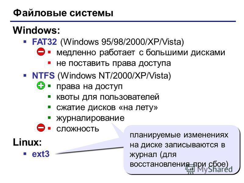 17 Файловые системы FAT32 (Windows 95/98/2000/XP/Vista) медленно работает с большими дисками не поставить права доступа NTFS (Windows NT/2000/XP/Vista) права на доступ квоты для пользователей сжатие дисков «на лету» журналирование сложность Windows: