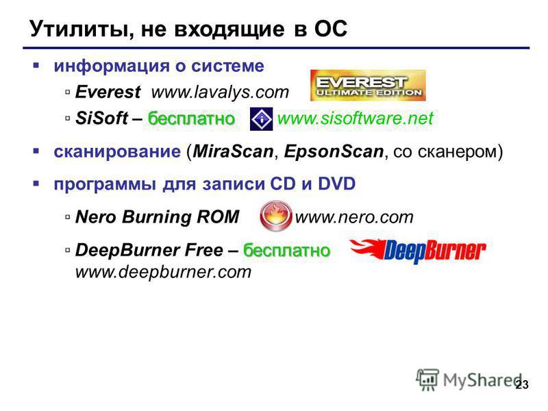 23 Утилиты, не входящие в ОС информация о системе Everest www.lavalys.com бесплатноSiSoft – бесплатно www.sisoftware.net сканирование (MiraScan, EpsonScan, со сканером) программы для записи CD и DVD Nero Burning ROM www.nero.com бесплатноDeepBurner F