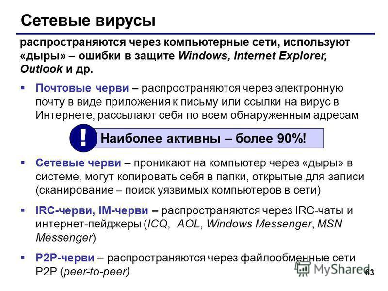 63 Сетевые вирусы Почтовые черви – распространяются через электронную почту в виде приложения к письму или ссылки на вирус в Интернете; рассылают себя по всем обнаруженным адресам Сетевые черви – проникают на компьютер через «дыры» в системе, могут к
