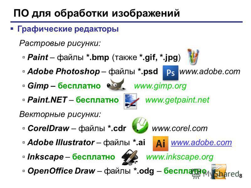 8 ПО для обработки изображений Графические редакторы Растровые рисунки: Paint – файлы *.bmp (также *.gif, *.jpg) Adobe Photoshop – файлы *.psd www.adobe.com Gimp – бесплатно www.gimp.org Paint.NET – бесплатно www.getpaint.net Векторные рисунки: Corel