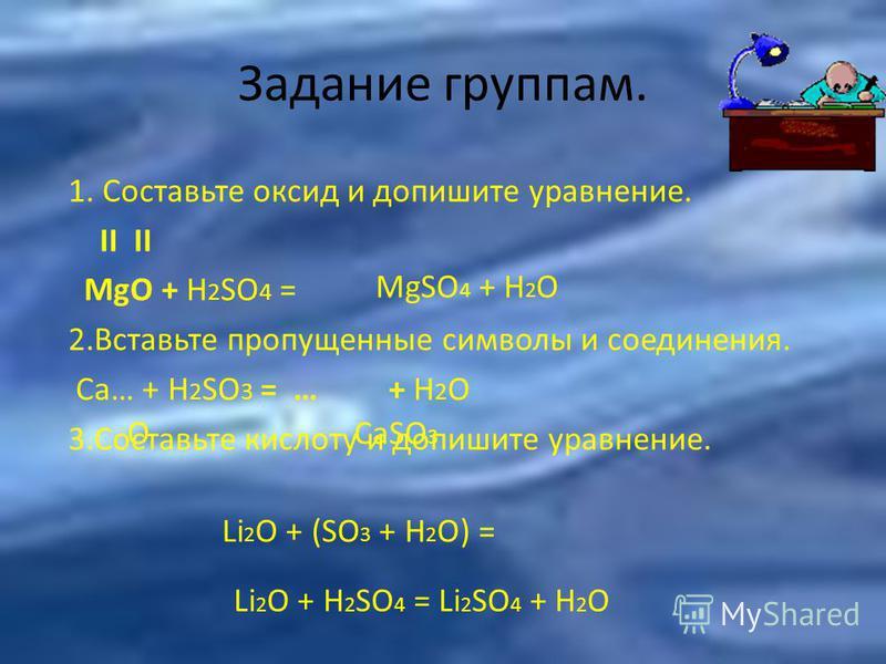 Задание группам. 1. Составьте оксид и допишите уравнение. II II MgO + H 2 SO 4 = 2. Вставьте пропущенные символы и соединения. Сa… + H 2 SO 3 = … + H 2 O 3. Составьте кислоту и допишите уравнение. MgSO 4 + H 2 O OCaSO 3 Li 2 O + H 2 SO 4 = Li 2 SO 4