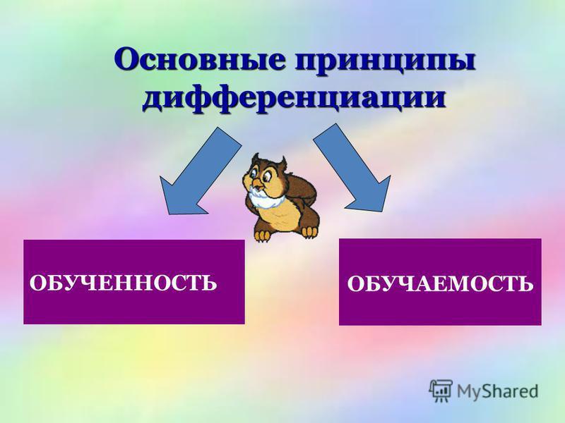Основные принципы дифференциации ОБУЧЕННОСТЬ ОБУЧАЕМОСТЬ