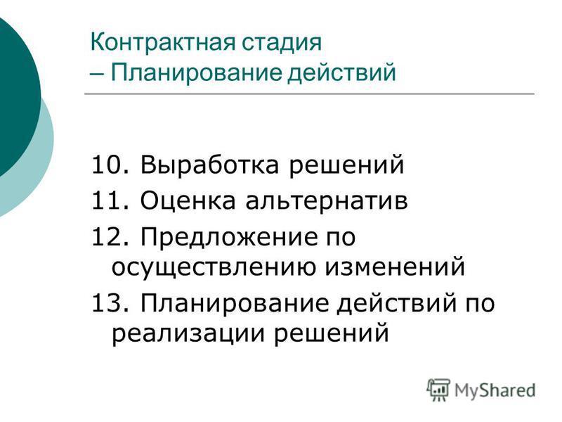 Контрактная стадия – Планирование действий 10. Выработка решений 11. Оценка альтернатив 12. Предложение по осуществлению изменений 13. Планирование действий по реализации решений