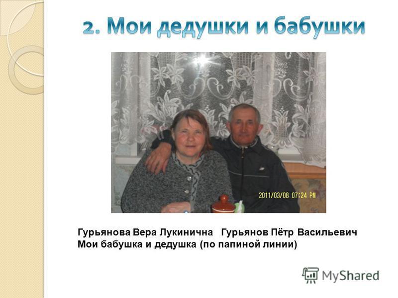 Гурьянова Вера Лукинична Гурьянов Пётр Васильевич Мои бабушка и дедушка (по папиной линии)
