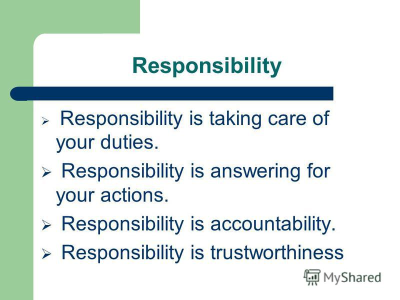 difference between authority accountability and responsibility management essay Authority, responsibility and accountability are inter-related they need proper consideration while introducing delegation of authority within an organisation in the process of delegation, the superior transfers his duties/responsibilities to his subordinate and also give necessary authority for performing the responsibilities assigned.