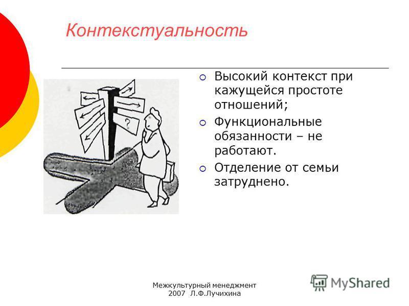 Межкультурный менеджмент 2007 Л.Ф.Лучихина Контекстуальность Высокий контекст при кажущейся простоте отношений; Функциональные обязанности – не работают. Отделение от семьи затруднено.