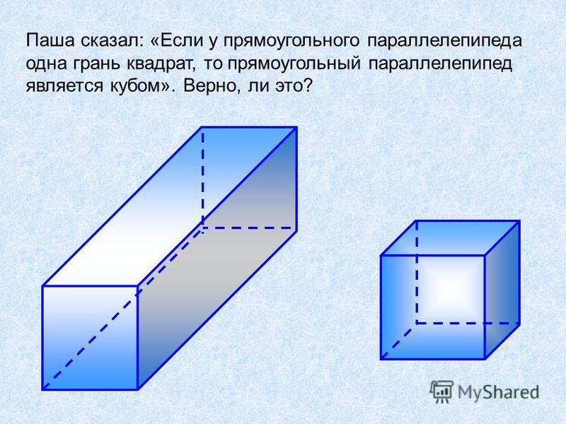 Паша сказал: «Если у прямоугольного параллелепипеда одна грань квадрат, то прямоугольный параллелепипед является кубом». Верно, ли это?