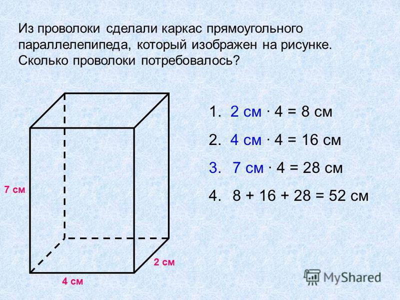 Из проволоки сделали каркас прямоугольного параллелепипеда, который изображен на рисунке. Сколько проволоки потребовалось? 7 см 4 см 2 см 1. 2 см 4 = 8 см 2. 4 см 4 = 16 см 3. 7 см 4 = 28 см 4. 8 + 16 + 28 = 52 см