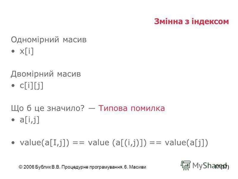 © 2006 Бублик В.В. Процедурне програмування. 6. Масиви17 (37) Змінна з індексом Одномірний масив x[i] Двомірний масив c[i][j] Що б це значило? Типова помилка a[i,j] value(a[I,j]) == value (a[(i,j)]) == value(a[j])