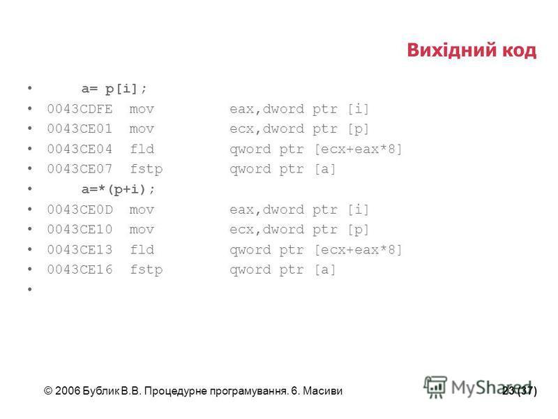 © 2006 Бублик В.В. Процедурне програмування. 6. Масиви23 (37) Вихідний код a= p[i]; 0043CDFE mov eax,dword ptr [i] 0043CE01 mov ecx,dword ptr [p] 0043CE04 fld qword ptr [ecx+eax*8] 0043CE07 fstp qword ptr [a] a=*(p+i); 0043CE0D mov eax,dword ptr [i]