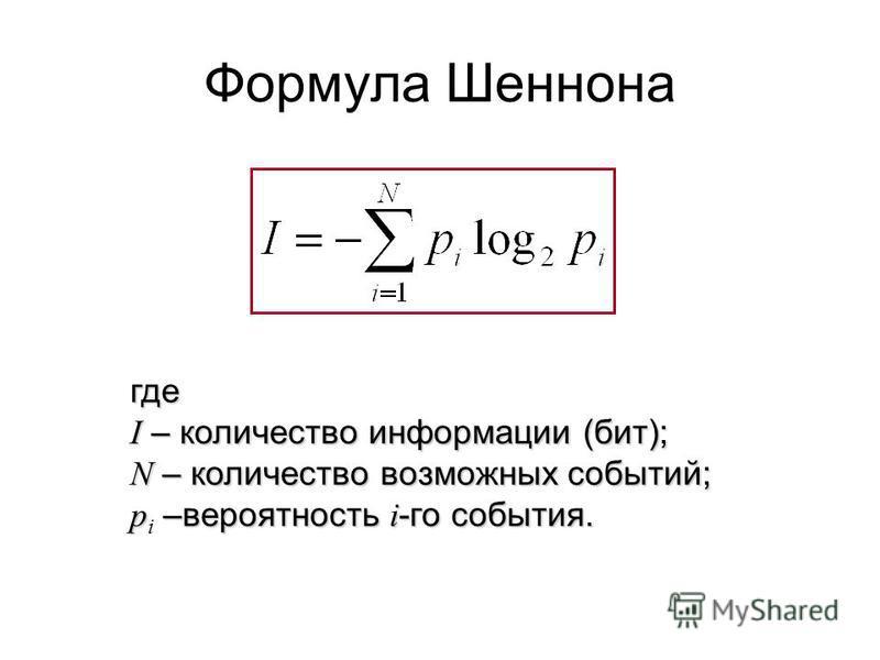 Формула Шеннона где I – количество информации (бит); N – количество возможных событий; p –вероятность i -го события. p i –вероятность i -го события.