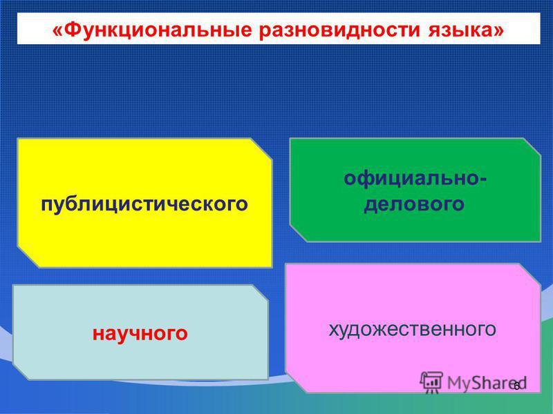 публицистического научного художественного официально- делового «Функциональные разновидности языка» 6