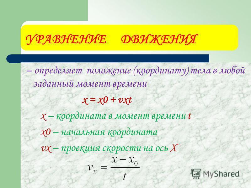 УРАВНЕНИЕ ДВИЖЕНИЯ – определяет положение (координату) тела в любой заданный момент времени х = х 0 + vхt х – координата в момент времени t х 0 – начальная координата vх – проекция скорости на ось Х