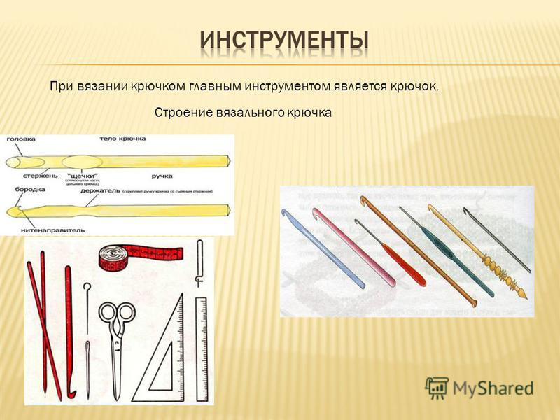 Строение вязального крючка При вязании крючком главным инструментом является крючок.