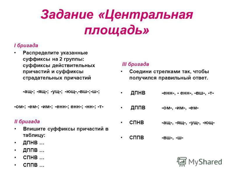 Задание «Центральная площадь» I бригада Распределите указаные суффиксы на 2 группы: суффиксы действительных причастий и суффиксы страдательных причастий -ащ-; -ящ-; -ущ-; -ющ-,-вш-;-ш-; -ом-; -ем-; -им-; -эн-; эн-; -н-; -т- II бригада Впишите суффикс