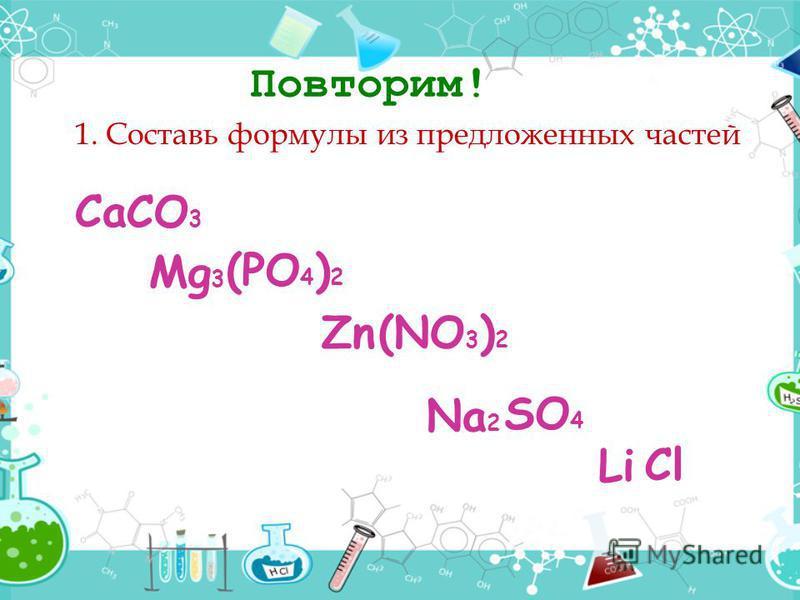 Повторим! 1. Составь формулы из предложенных частей СaСaLi Mg 3 Zn Na 2 (NO 3 ) 2 CO 3 SO 4 (PO 4 ) 2 Cl