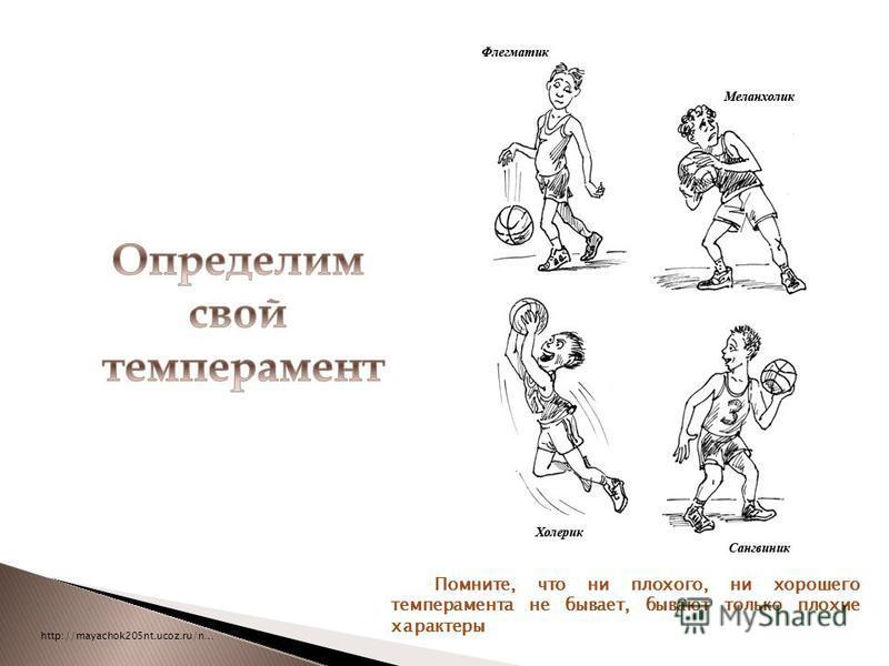 http://mayachok205nt.ucoz.ru/n… Помните, что ни плохого, ни хорошего темперамента не бывает, бывают только плохие характеры