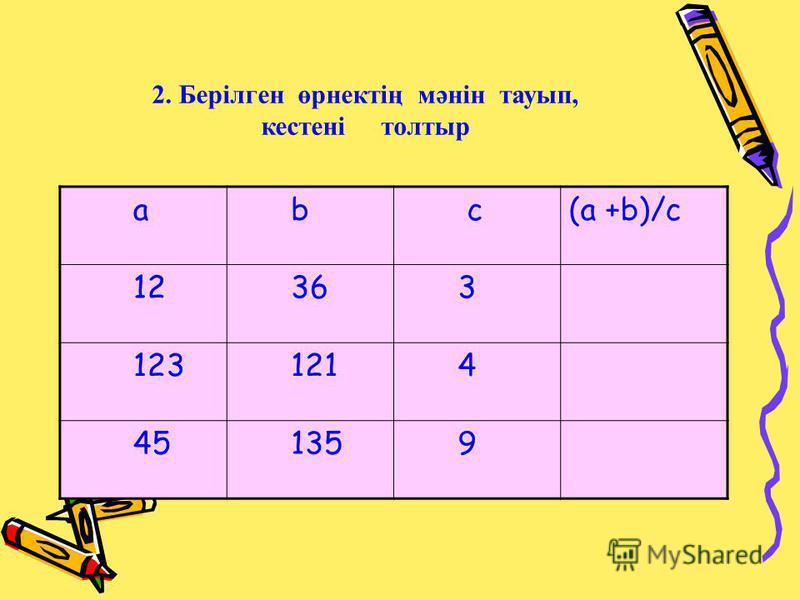 a b c(a +b)/c 12 36 3 123 121 4 45 135 9 2. Берілген өрнектің мәнін тауып, кестені толтыр