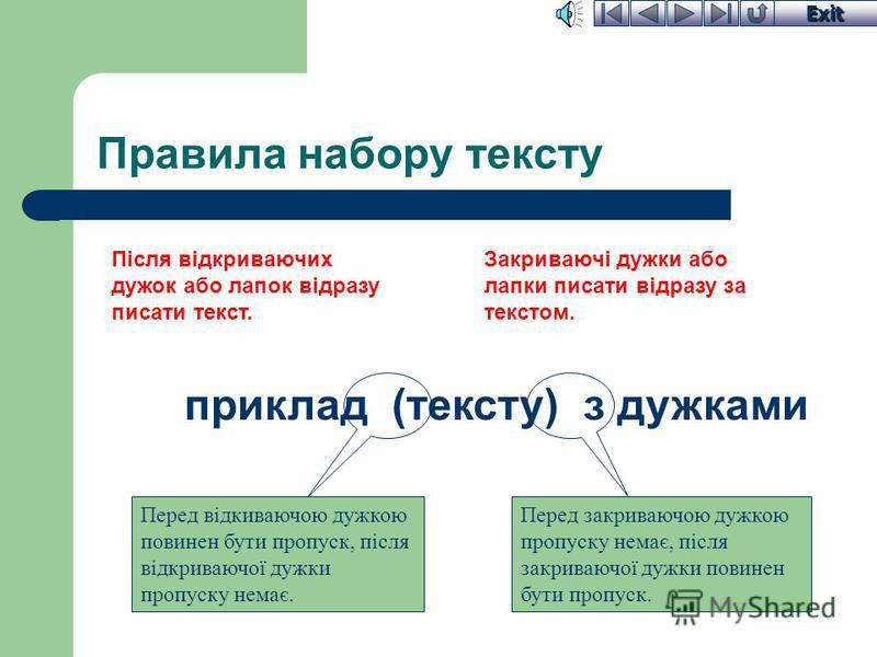 Exit Правила набору тексту слова, за Розділовий знак ставиться за словом без пропуску. Після розділового знаку перед наступним словом обовязково повинен стояти пропуск. Розділовий знак не відривати від слова, за яким він стоїть. Після кожного розділо