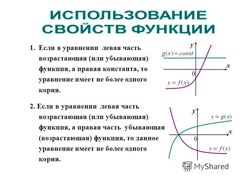 1. Если в уравнении левая часть возрастающая (или убывающая) функция, а правая константа, то уравнение имеет не более одного корня. 2. Если в уравнении левая часть возрастающая (или убывающая) функция, а правая часть убывающая (возрастающая) функция,