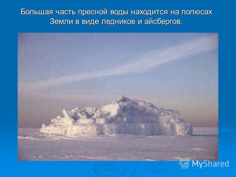 Большая часть пресной воды находится на полюсах Земли в виде ледников и айсбергов.