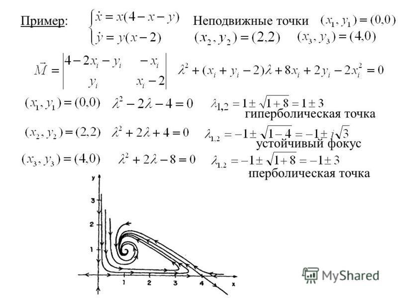 Пример:Неподвижные точки гиперболическая точка устойчивый фокус гиперболическая точка